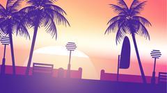 Beach Sunset Walkway - Vector Illustration Stock Illustration