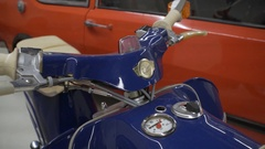 Vintage old blue motorbike motorcycle Stock Footage