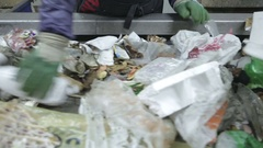Waste sorting. Conveyor for sorting. Recycling waste Stock Footage