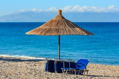 Summer morning beach (Albania). Stock Photos