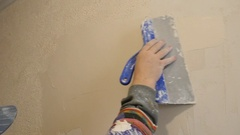 Plasterer At With Float And Plaster Stock Footage