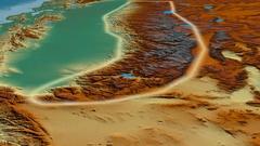 Glide over Sierra Nevada mountain range - glowed. Relief map Stock Footage