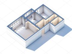 House interior design planning sketch draft 3d rendering Stock Illustration