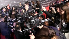 Photographers on red carpet Stock Footage