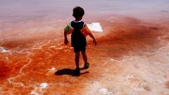 Lonely kid walking away in red pink salty sea water in surrealistic atmosphere Stock Footage