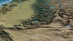 Glide over Sierra Nevada mountain range - masks. Natural Earth Stock Footage