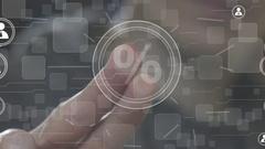 Businessman pushing button percent virtual network Stock Footage