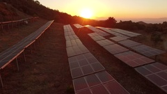 Solar Park AERIAL in the sunset Stock Footage