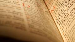 4K Antique Bible research macro shot Stock Footage