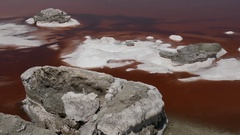 Salty beach shore with red pink water and crystal salt rock Stock Footage