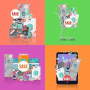 Sale in Electronics Store Vector Concepts Set Stock Illustration