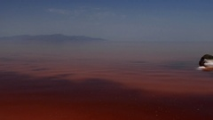 Pan from red pink water and mountains in the background to a salty beach shore Stock Footage