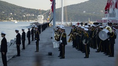 Military sailors on parade in honor of the navy Stock Footage