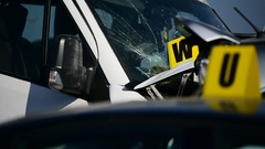 Detail with damage automobile after a car crash accident Stock Footage