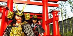 Japanese Female Samurai Lord and her vassal Stock Illustration