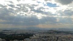 4K Dramatic clouds Timelapse Skyline Greece Athens Acropolis from Lycabettus  Stock Footage