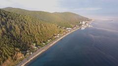 Aerial shot Baikal Listvyanka Stock Footage