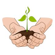 Growing plant in handful soil in hands. Comic style grow business concept web Stock Illustration