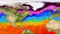 Earth Water Surface Global Warming Simulation Northern Hemisphere Stock Footage