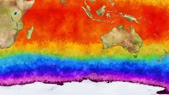 Earth Water Surface Global Warming Simulation Southern Hemisphere 2 Stock Footage