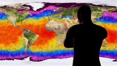 4K Man Watching Death of Earth Global Warming Simulation Stock Footage