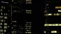 Frankfurt Highrises at Night Stock Footage