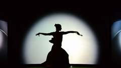 Light and shade, the singing woman in theater. Stock Footage