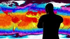 4K Man Watching Earth Landmass and Water Surface Global Warming Simulation Stock Footage