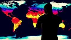 4K Man Watching Earth Landmass Global Warming Simulation Stock Footage