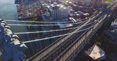 Manhattan Bridge sunrise over New York City - aerial shot - 4k Arkistovideo