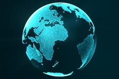 3d rendering digital Earth hologram concept. Technology image of globe blue Piirros