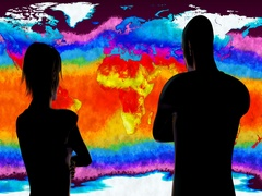 4K Woman and Man Watching Earth Landmass and Water Surface Global Warming Simula Stock Footage