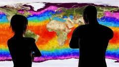 4K Woman and Man Watching Earth Water Surface Global Warming Simulation Stock Footage