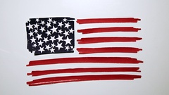 American Flag Hand Made Stock Footage