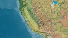 Zoom into Sierra Nevada mountain range - masks. Topographic map Stock Footage