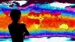 4K Woman Watching Earth Landmass and Water Surface Global Warming Simulation Stock Footage