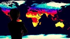 4K Woman Watching Earth Landmass Global Warming Simulation Stock Footage
