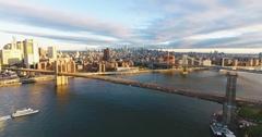New York City skyline - drone aerial - 4k - sunset Stock Footage