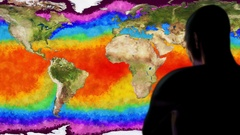 Man Watching Earth Water Surface Global Warming Simulation Cinematic Camera M Stock Footage