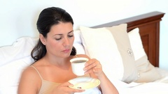 Young sick woman having sore throat Stock Footage