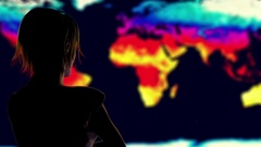 Woman Watching Earth Landmass Global Warming Simulation Cinematic Rack Focus Stock Footage