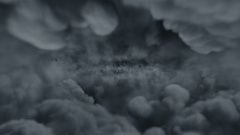 Flight over the thundering clouds Stock Footage