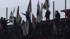Soccer Fans with banners in a stadium Stock Footage