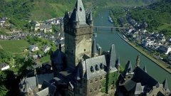 Aerial view of a medieval castle. Cochem Germany. Mosel river. Stock Footage