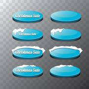 Christmas vector blue glossy glass buttons set Stock Illustration