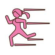 Pictogram girl running athlete active sport Stock Illustration