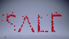 SALE.Shiny red balls create and form letters. Stock Footage