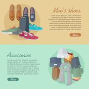 Men s Shoes Accessories. Autumn Winter Collection Stock Illustration