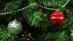Christmas decorations on the Christmas tree. Blurred background. Stock Footage