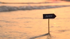 Beaches resorts or beach vacations idea - sunset at sea Stock Footage
